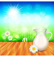 Milk jug on wooden table nature background vector image