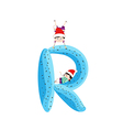 a Kid Leaning on a Letter R vector image vector image