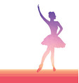 ballerina silhouette low poly pink to purple vector image