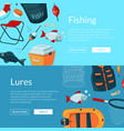 banners with cartoon fishing vector image vector image
