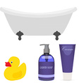 Bath and bathroom accessories vector image