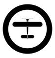 biplane icon black color in circle vector image