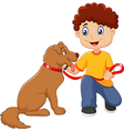 Cartoon boy with his dog isolated vector image vector image