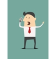 Cartoon businessman using a mobile phone vector image vector image