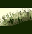 cartoon farm in green tone vector image