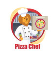 cartoon pizza chef lion king hold pizza box in paw vector image