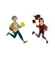 cartoon young teen students jumping set vector image vector image
