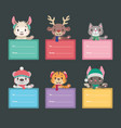 christmas present tags with cute animals vector image vector image