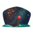 circus seal balancing with red ball on arena vector image vector image