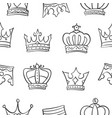 collection crown sketch hand draw doodles vector image vector image
