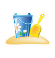 colorful decorative baby bucket and shovel on vector image vector image