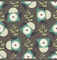 cute seamless pattern with teapots and floral vector image