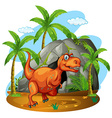 Dinosaur standing in front of a cave vector image vector image