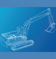 excavator technical wire-frame rendering vector image vector image