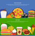 fast food delivery service flat banners vector image vector image