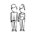 figure nice couple with hairstyle design vector image