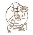funny italian chef with pizza emblem design vector image
