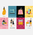 garment factory flat cards vector image