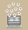 ghosts fly out of the laptop screen vector image