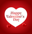 happy valentines day card with red background and vector image vector image