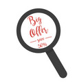 inscription big offer under magnifying glass on a vector image