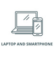 laptop and smartphone line icon linear vector image vector image