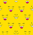 lol pattern seamless funny faces yellow social vector image vector image
