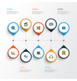 media icons colored line set with monitor audio vector image vector image