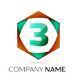 number three logo symbol in the colorful hexagonal vector image vector image