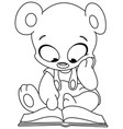 Outlined teddy bear reading book