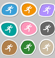 running man icon symbols Multicolored paper vector image