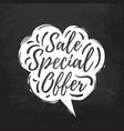sale special offer hand lettering in speech vector image vector image