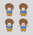 set boy with emotion faces character vector image vector image