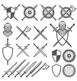 set medieval swords shields design element vector image