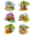 set mini compositions on safari theme vector image vector image