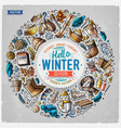 set winter cartoon doodle objects symbols and vector image