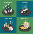 smart manufacturing isometric icons concept vector image vector image