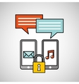smartphone technology message music security vector image vector image
