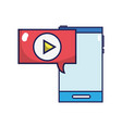 smartphone technology with chat bubble play video vector image