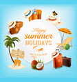 summer banner design with vacation related icons vector image