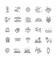 thin line arctic icons set vector image vector image