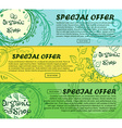 Three horizontal banners of organic shop with vector image vector image