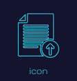 turquoise upload file line icon isolated on blue vector image vector image