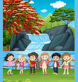 waterfall scene with many children vector image