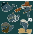 whale characters set vector image vector image