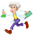 A scientist running hurriedly vector image vector image