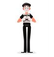 april fools day mime cartoon character vector image