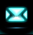 blue email icon glowing neon lamp new incoming vector image vector image