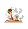 boy after a failed chemical experiment mixture vector image vector image