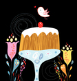 cake and bird vector image vector image